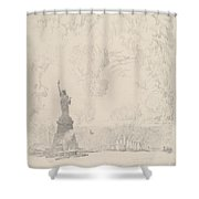 The Statue, New York Bay Shower Curtain