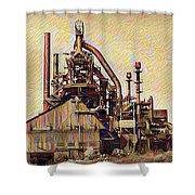 The Steel Stacks Watercolor Shower Curtain