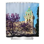 The Steeple Of The Valldemossa Charterhouse In Spring Shower Curtain