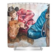 The Steer Wrestler Shower Curtain