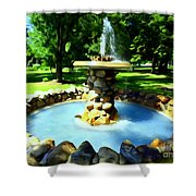 The Stone Fountain Shower Curtain