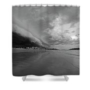 The Storm Rolling In To Good Harbor Beach Gloucester Ma Black And White Shower Curtain