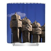 The Strangely Shaped Rooftop Chimneys Shower Curtain