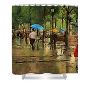 The Streets Of Paris In The Rain Shower Curtain