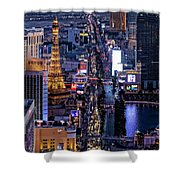 the Strip at night, Las Vegas Shower Curtain