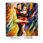 The Sublime Tango - Palette Knife Oil Painting On Canvas By Leonid Afremov Shower Curtain
