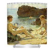 The Sun Bathers Shower Curtain by Henry Scott Tuke