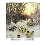 The Sun Had Closed The Winter's Day  Shower Curtain by Joseph Farquharson