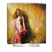 The Sun In Red Shower Curtain