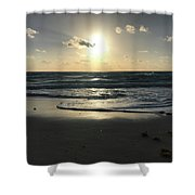 The Sun Is Rising Over The Ocean Shower Curtain