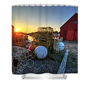 The Sun Rising By Motif 1 In Rockport Ma Bearskin Neck Lobster Traps Shower Curtain