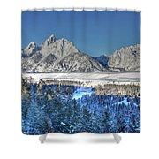The Sun Rising On The Tetons Shower Curtain