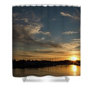 The Sun Sets In Milford Shower Curtain