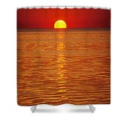 The Sun Sinks Into Pamlico Sound Seen Shower Curtain