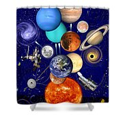 The Sunflower Solar System Shower Curtain