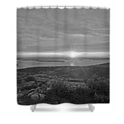 The Sunrise From Cadillac Mountain In Acadia National Park Black And White Shower Curtain