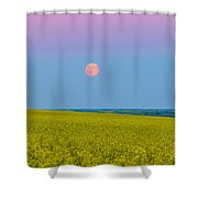 The Supermoon Rising Above A Canola Shower Curtain