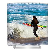 The Surf Is Up Shower Curtain