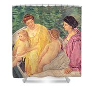 The Swim Or Two Mothers And Their Children On A Boat Shower Curtain