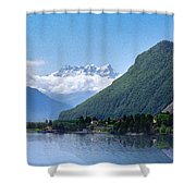 The Swiss Alps Overlooking Lake Geneva Shower Curtain