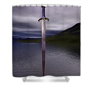 The Sword Excalibur On The Lake Shower Curtain