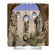 The Tajo De Ronda And Puente Nuevo Bridge Andalucia Spain Europe Shower Curtain