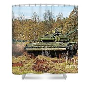 The Tank T-72 In Movement Shower Curtain