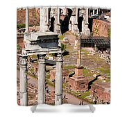 The Temple Of Castor And Pollux At The Forum From The Palatine Shower Curtain
