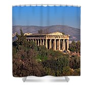 The Temple Of Hephaestus In The Morning, Athens, Greece Shower Curtain
