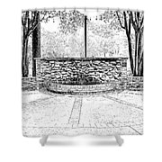 The Terrace In Black And White Shower Curtain