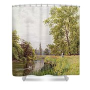 The Thames At Purley Shower Curtain by William Bradley