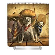 The Three Banditos Shower Curtain by Sean ODaniels