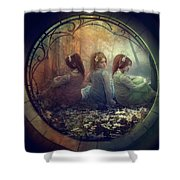 The Three Flowers Shower Curtain