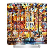 The Three Friends - Palette Knife Oil Painting On Canvas By Leonid Afremov Shower Curtain