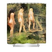 The Three Nymphs By Mary Bassett Shower Curtain