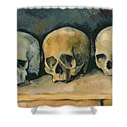 The Three Skulls Shower Curtain by Paul Cezanne