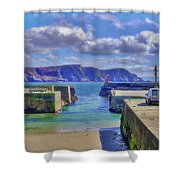 The Tide Is Out In The Harbour Shower Curtain