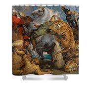 The Tiger Hunt Shower Curtain