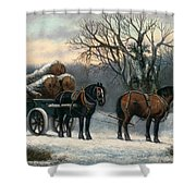 The Timber Wagon In Winter Shower Curtain by Anonymous