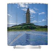 The Tower Of Hercules And The Rose Of The Winds Shower Curtain