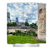 The Tower Of London And The City District With Gherkin Skyscraper, The Uk Shower Curtain