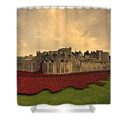 The Tower Poppies  Shower Curtain