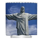 The Towering Statue Of Christ Shower Curtain