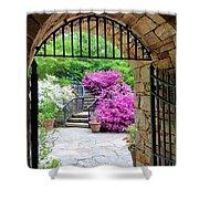 The Tower's Garden Door Shower Curtain