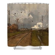 The Train Is Arriving Shower Curtain