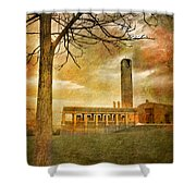 The Tree And The Bell Tower Shower Curtain