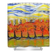 The Trees In Red. Day_march, 28  2015, Nizhny Novgorod, Russia Shower Curtain