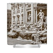 The Trevi Fountain In Sepia Tones Shower Curtain