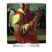 The Triangle Player Shower Curtain