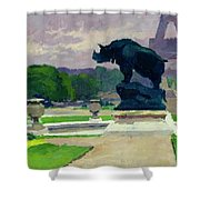 The Trocadero Gardens And The Rhinoceros Shower Curtain by Jules Ernest Renoux
